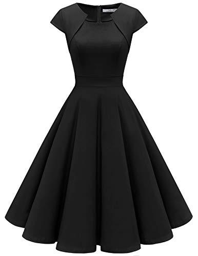 HomRain HomRain 1950er Vintage Retro Cocktailkleider Damen Kurzarm Rockabilly Kleider Party Abendkleider Schwingen Faltenrock Black 2XL
