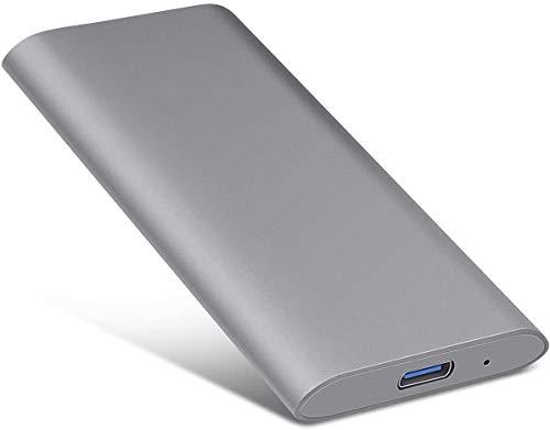 Disco rigido esterno portatile – Disco rigido esterno portatile ultra sottile da 2 TB compatibile con Mac, computer portatile, PC (2TB, gray)