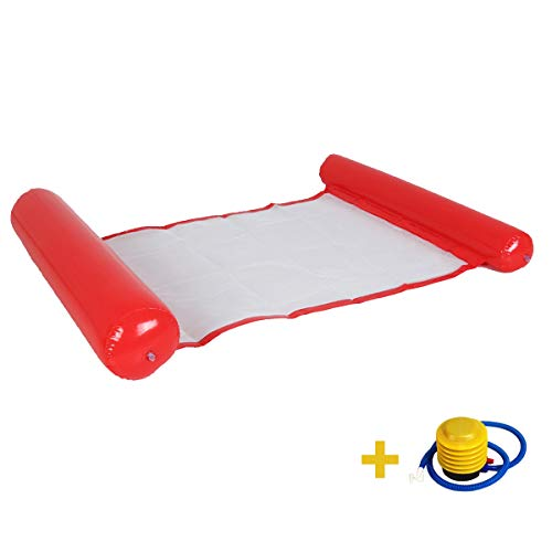 Hammock Inflatable Pool Float, Multifunctional Portable Water Hammock Can Be Used As Floating Chair,Saddle(Red)