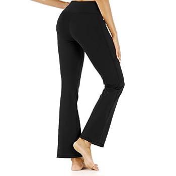 M MOTEEPI Womens Flare Leggings High Waisted Athletic Workout Leggings Bell Bottom Pockets Black L