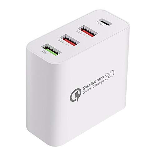 Cargador USB rápido múltiple Charge Estación de Carga múltiple para teléfono con 4 USB, Blanco