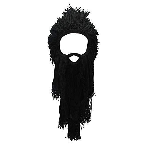 Lantra Besa Sombrero de Peluca salvaje para Mujer y Hombre Divertido Gorro de Punto con Barba Desmontable para Esquiar Carnaval Halloween Fiesta de Cosplay CC0013 Barba Larga Negro