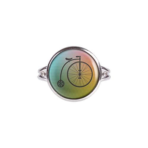 Mylery Ring mit Motiv Fahrrad Hochrad Einrad Retro Vintage Alt Silber 14mm
