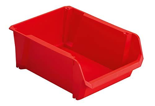 Stanley STST82742-1 FolderSys #4 - Cajas de almacenamiento (polipropileno resistente, apilables, montaje en pared, ideal para guardar piezas pequeñas, herramientas, accesorios, etc.), color rojo
