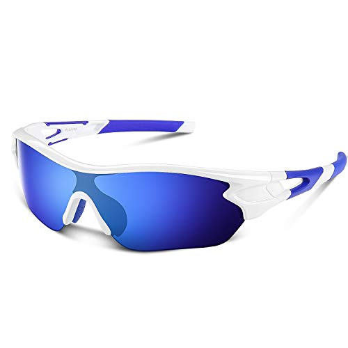 Polarized Sports Sunglasses for Men Women Youth Baseball Cycling Running Driving Fishing Golf Motorcycle TAC Glasses (White Blue)