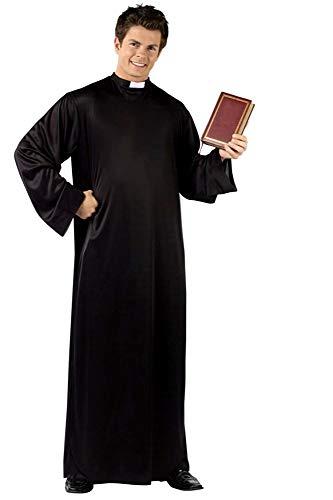 Kostuum - tuniek - priester - vermomming - carnaval - halloween - man - zwarte kleur - cadeau-idee voor kerst en verjaardag cosplay