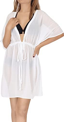 LA LEELA Traje de baño Bikini Estilo Kimono de la Playa de Las Mujeres Cubrir Blanco_AA313 M-L