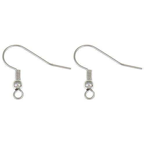 Perlin - 20 Stück Edelstahl Ohrhaken Fischhaken Ohrring Ohreder mit Kugel 20mm Schmuckteil Schmuck Schmuckzubehör M134