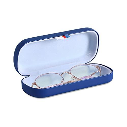 MoKo Caja Protectora Rígida de Gafas de PU, Estuche de Anteojos Universal con Paño de Limpieza, Organizador Portátil con Cinta para Almacenar Gafas de Lectura Gafas Ópticas Gafas de Sol, Azul