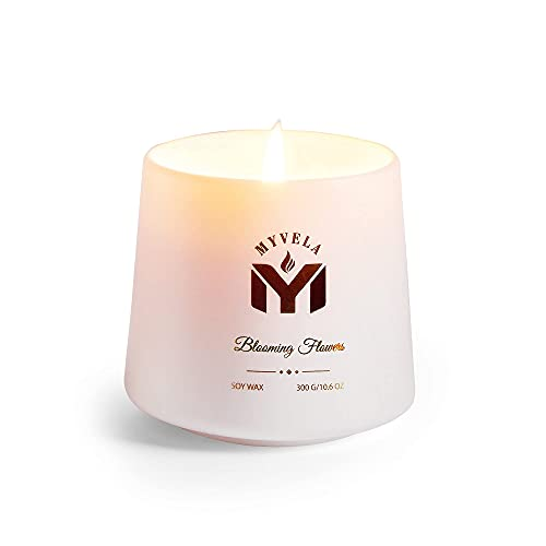 Mmyvela Scented Candles / Blooming Flower Fragrance / 10.6 Oz Aromatherapy Soy Wax Candle for Home Scent / Semi-Transparent Porcelain Ceramic Jar Candle / 60 Hours Long Lasting Burning