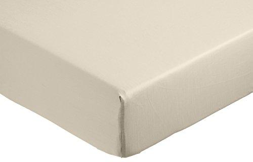 AmazonBasics - Sábana bajera ajustable (algodón satén 400 hilos, antiarrugas) Beige - 90 x 190 x 30 cm
