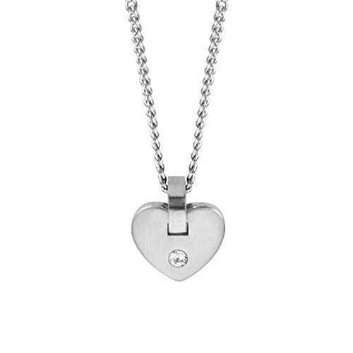 Esprit ESNL00552342 Damen Collier Herz Cheer Edelstahl Silber Weiß Glas 45 cm