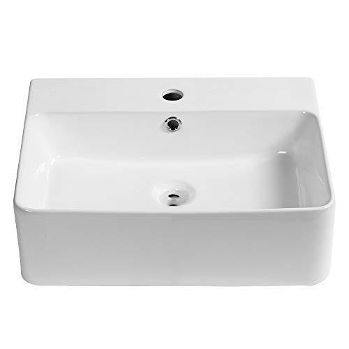 kleankin Lavabo Rectangular Lavamanos para Baño sobre Encimera de Cerámica de Alta Temperatura con Diseño Nórdico Sólido y Moderno 52x42x15,5 cm Blanco