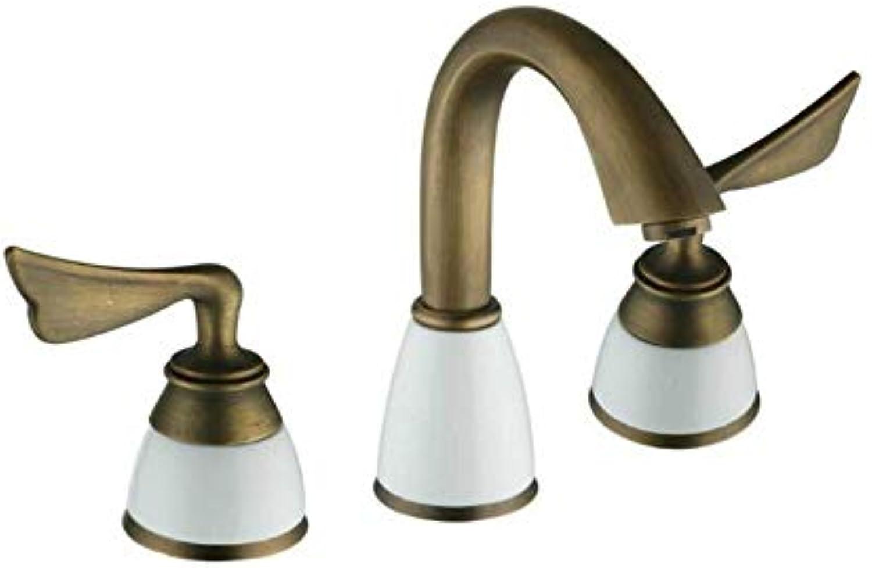 Mit Ausziehbarem Schlauch, Horizontaler Stange, Küchenarmaturwasserhhne Messing Doppelgriffe Badezimmer Waschbecken Wasserhahn Mischbatterie, Golden