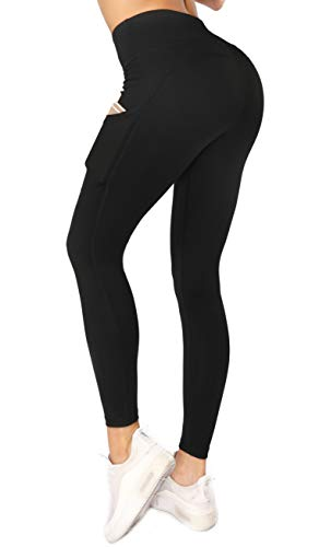 Sweetaluna Workout Leggings for Women,High Waist Yoga Pants Pockets,Running Training Tights (Ankle-Black, Medium)