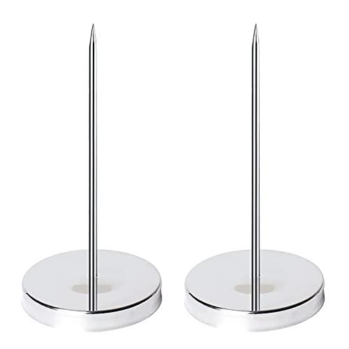 Mox 2 Piezas Tenedor de Factura Pincho para Notas de Acero Inoxidable Titular Bill Tenedor con Soporte Redondo De Eje Grueso Para Oficina Cocina