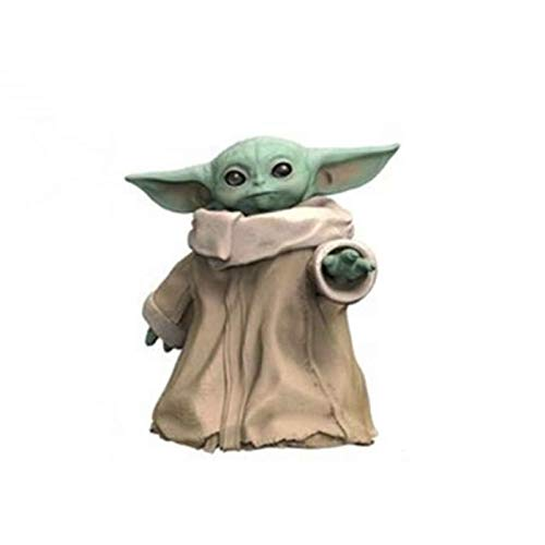 LINRUS Figura de una Pieza Star Wars Child Baby Yoda con Figura PVC Estatua Figura Mandalorian-The Child Juguete Coleccionable para decoracion navidena