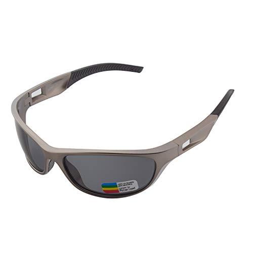 OULIQI Gafas de Sol Deportivas polarizadas para Hombres y Mujeres, Gafas de Correr para Hombres, TR90, Ciclismo, Golf, conducción, Tenis, Bicicleta, Gafas de Pesca (Gris)