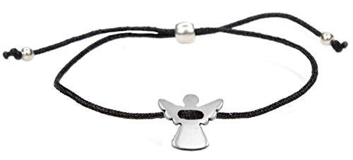 Milosa sieraaddesigns beschermengel armband zilver voor meisjes met engel (in grootte verstelbaar) zwart kinderarmband, schattige geluksbrenger
