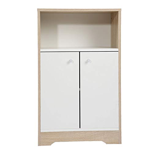 Yosooo Free Standing Kitchen Storage Sideboard,Dining Buffet Server Cabinet Cupboard Storage Chest with 2 Drawer and Open Shelf for Home, Dining Hall,White