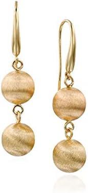 14k Gold Ball Drop Earrings - Solid Yellow Gold in Brushed Matte Finish - Long Dangle Earrings - Ball Dangle Earrings - Mother's Day Gift (1.8 in, 6.3 g)