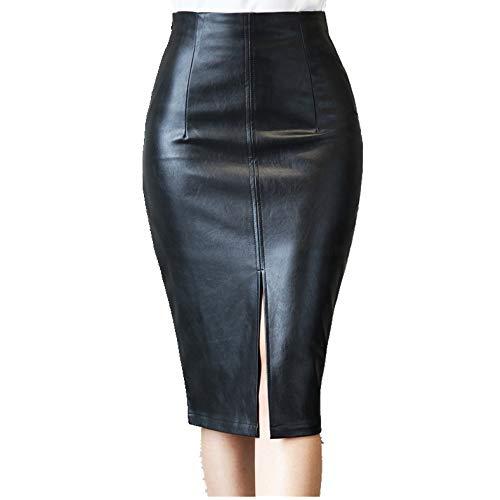 U/A Negro Falda De Cuero De Las Mujeres Midi Sexy De Cintura Alta Split Falda De Oficina Lápiz Falda De La Rodilla