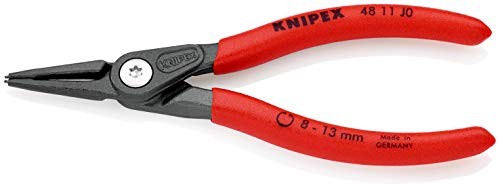 KNIPEX 48 11 J0 Alicate de precisión para arandelas para arandelas interiores en taladros gris atramentado recubiertos de plástico antideslizante 140 mm