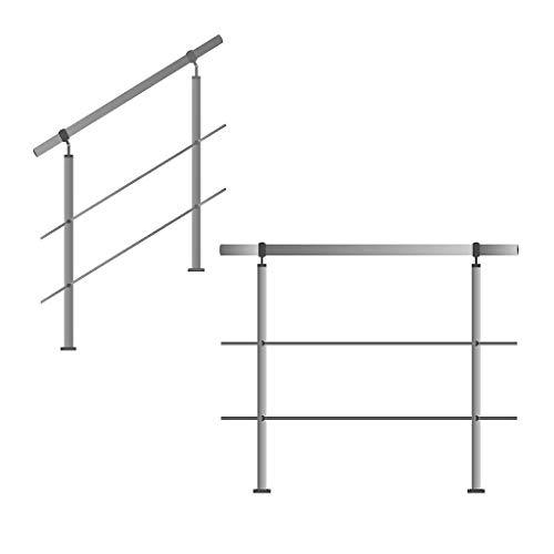 Edelstahl-Handlauf Geländer für Treppen Brüstung Balkon mit/ohne Querstreben (bis 1.5m inkl. 2 Pfosten 2 Querstangen)