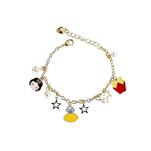 xiucai Pulsera infantil con cuentas de perlas y estrellas de hadas, regalo para niñas, pulsera infantil (longitud: 16 cm, color metálico: blanco nieve)
