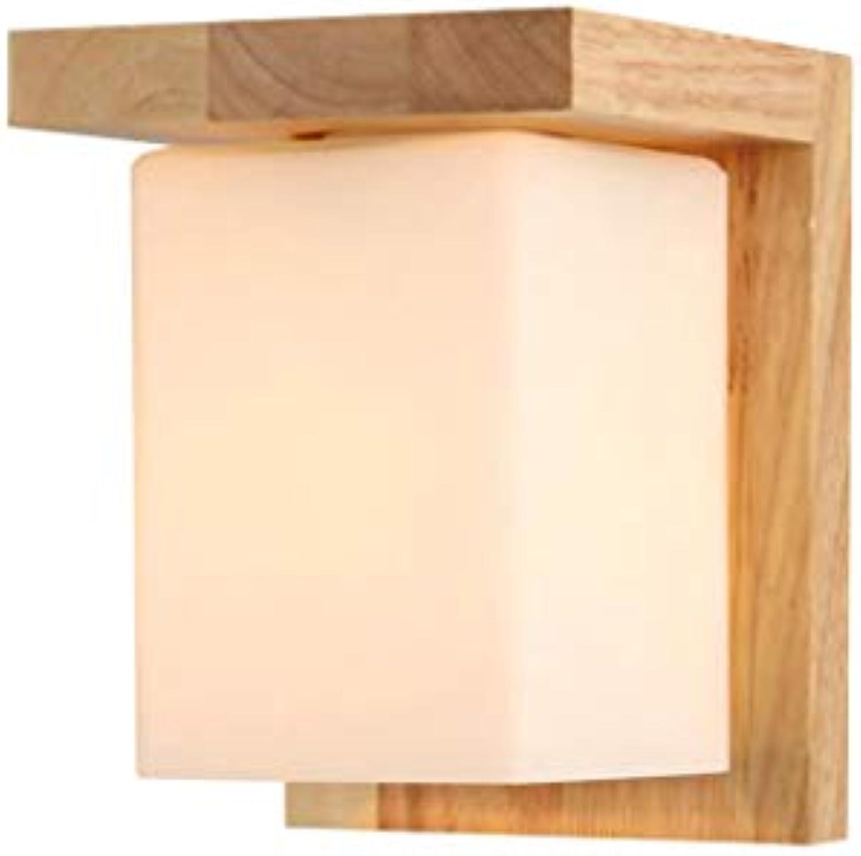 Holzlampe Nachttischlampe Wandlampe moderne minimalistische Wandleuchte Massivholz Wandlampe Log Farbe japanische Lampe