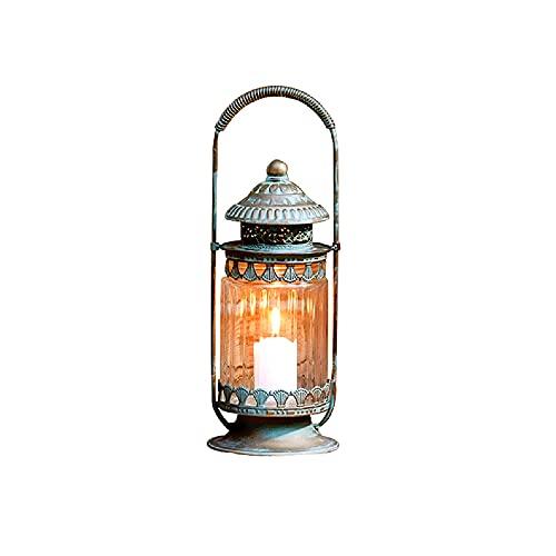 Linternas de vela vintage decorativas con mango Portavelas de pilar portátil rústico con vidrio Linterna de granja de hierro forjado para decoración de jardín de fiesta Uso interior al aire libre