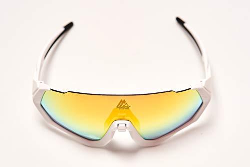 Gafas de sol deportivas. CE Certificación. Fotocromáticas, polarizadas, protección UV 400. Lentes intercambiables. Puente nasal ajustable. Material TR90 flexible e irrompible. (Blanco)