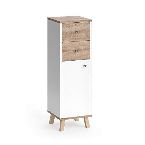 Vicco Badmöbel Set SENYO Eiche-Sonoma Weiß Spiegel Waschtisch Unterschrank Badschrank