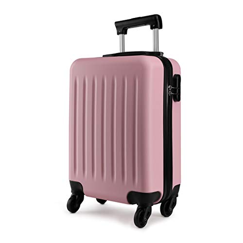 Kono 19 Inch Carry On Kids Luggage Lightweight Hardside Rolling Cabin Small Suitcase with 4 Spinner Wheel Gift for Children (Pink)