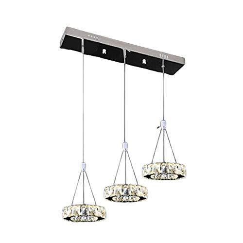 ERT 27W 3-Rings LED Lámpara Colgante Lámpara De Suspensión De Altura Ajustable Moderna Elegante Lámpara Colgante De Cristal De Acero Inoxidable Sala De Estar Comedor Dormitorio Iluminación De Techo 3