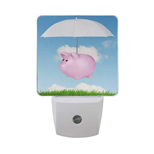 AOTISO Roze spaarvarken vliegend varken over groen gras met paraplu in blauwe hemel Witte wolk Auto Sensor Nachtlampje Plug in Indoor