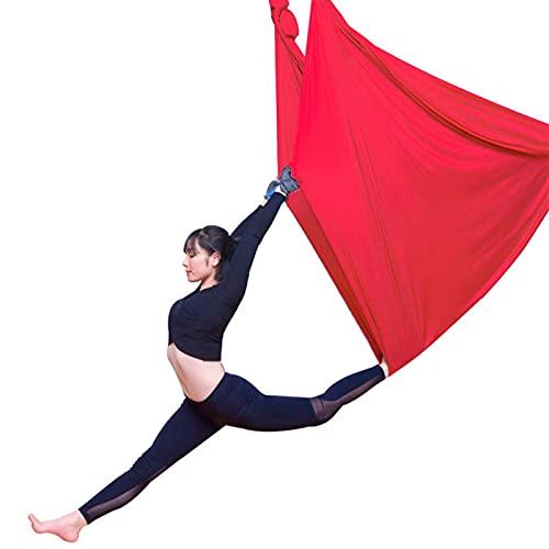YANGHUI Yoga Swing Hamaca Aérea Yoga Swing Set Anti-Gravity Techo Colgante Yoga Hamaca Yoga Swing Inversión, Rojo 2,5m