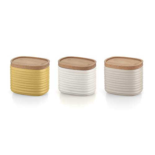 Guzzini Tierra Set di 3 Barattoli, Post Consumed Recycled Poliestereastic, Bamboo, Multicolore, 02