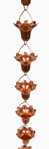 Stanwood Rain Chain Copper Rain Chain Hummingbird and Flower Decor Extension, 4-Feet