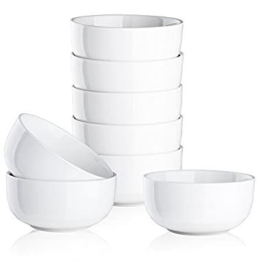 Mandydov 10 Ounce Porcelain Bowl Set Dessert Bowls Dinnerware for Cereal Cottage Cheese Fruit Crackers Salad - Set of 8 White
