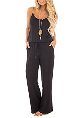 sullcom Women Summer Solid Sleeveless Wide Leg Jumpsuit Casual Spaghetti Strap Stretchy Long Pant Rompers