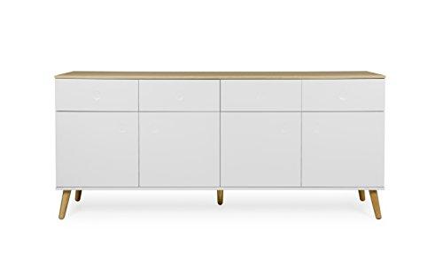 tenzo 1678–454 Dot Designer Buffet 4 portes, 4 tiroirs Blanc, Structure Façades en MDF Laqué. Plateau du dessus en panneaux de particules placage chêne, 86 x 192 x 43 cm (HxLxP)