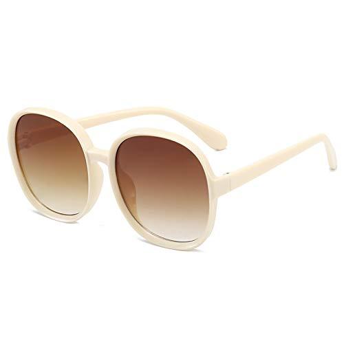 Moda Gafas De Sol Clásicas Clásicas De Plástico para Mujer, Montura Redonda De Gran Tamaño, Gafas De Diseñador De Marca De Lujo para Mujer, Grandes Tonos Beige Marrón