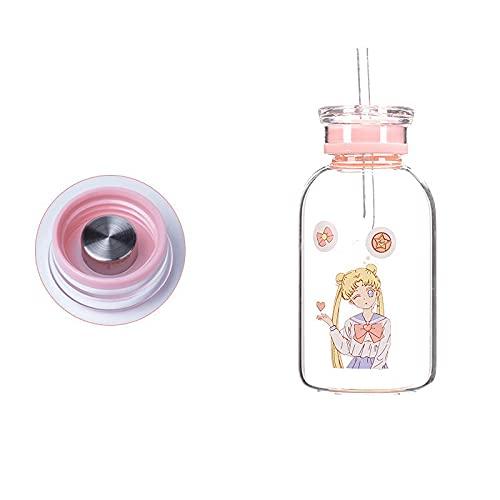 Botella de cristal de Sailor Moon de 450 ml, botella de agua Kawaii, respetuosa con el medio ambiente, con vasos de pajita, vasos para niños, lindos (color: estilo 3)