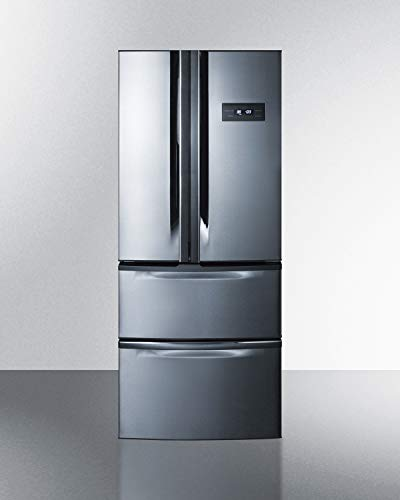Summit Appliance FDRD15SS Counter Depth ENERGY STAR Certified 27' Wide French Door Refrigerator with Two Bottom Freezer Drawers in Stainless Steel & Gray Cabinet