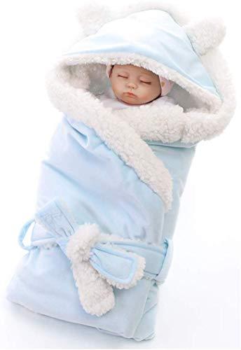 ZYEZI Couverture de sac de couchage pour bébé, Universel à capuchon mignon Nouveau-né Sommeil Sadd-Swaddle Serviette Poussette Wrap Bleu