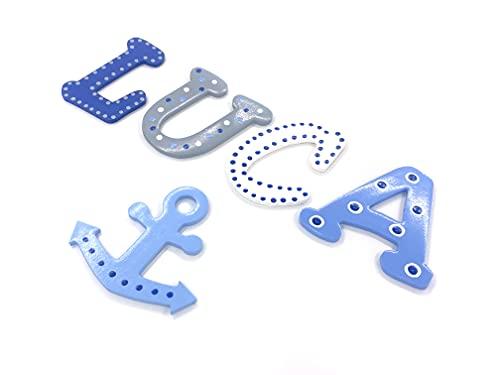 7cm große Holzbuchstaben | inkl. Klebepads | 6 verschieden Schriftarten | 7 verschiedene Größen | Schriftart 3 | Design LUCA
