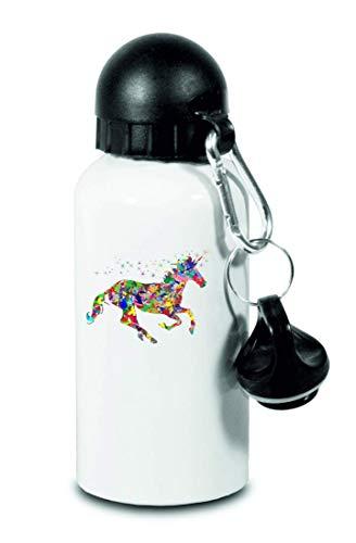 Drucklebnis24 Botella – Prismáticos cromáticos cromáticos – para niños, escuela, deporte, fitness – Botella de agua fina de aluminio, color Blanco, tamaño 500 ml