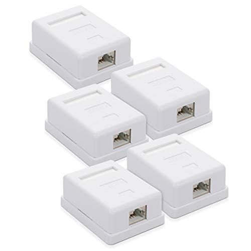 kwmobile Roseta RJ45 para Pared - 1 Puerto Ethernet CAT6A - Caja de Red para instalación en Superficie - Conector blindado para Internet en Blanco