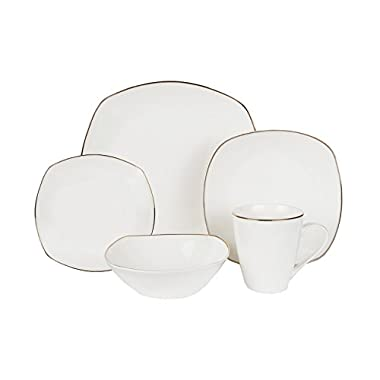 Klikel 20-piece Alyssa Gold-rimmed Square Bone China White Dinnerware Tableware Dining Set With Service For 4, Includes Dinner Plate, Salad Plate, Bread Plate, Bowl, And Mug